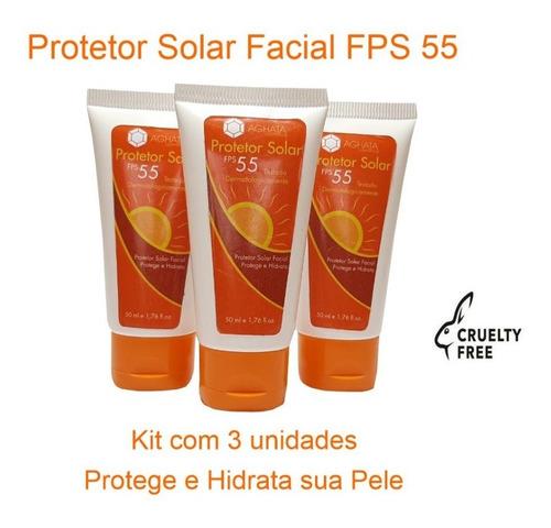 Kit 3 Un Protetor Solar Facial Fps 55 - 50g Gel Creme (promo