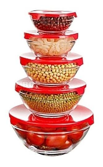 Set 5 Bowls De Vidrio Con Tapa Tuppers Freezer Microondas