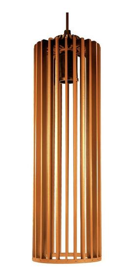 5 Lustre Luminaria Pendente De Madeira E-27 11x37cm Angelico