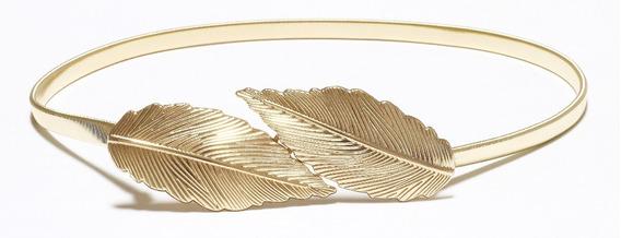 Cinto Feminino De Metal Dourado Elástico Fivela Folhas