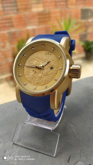 Relógio Invicta Yakusa S1 Dourado Com Calendário