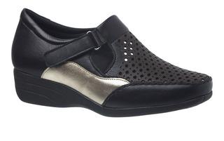 Sapato Feminino Anabela 3142 Em Couro Soft Preto/metalizado
