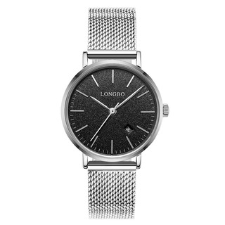 Relógio Longbo Marca Mulher Prata Preta
