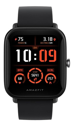 "Imagen 1 de 3 de Smartwatch Amazfit Basic Bip U Pro 1.43"" caja de  policarbonato black malla  black de  caucho de silicona A2008"