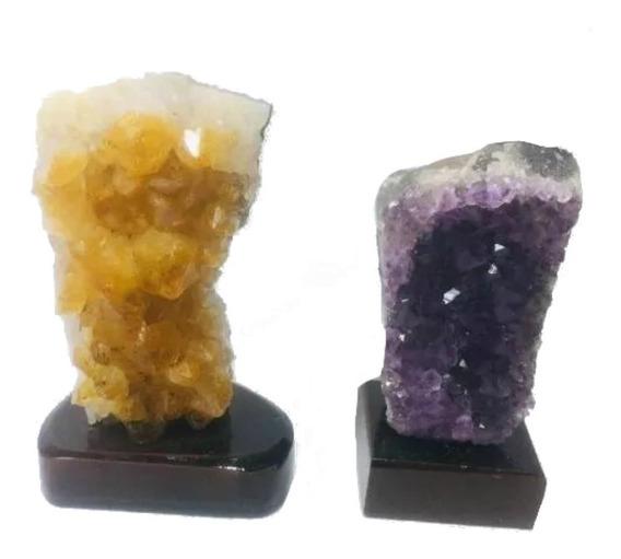Kit Pedras Semi Preciosa Brasileiras Drusa Citrino+ametista