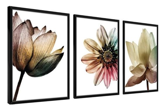 Quadros Decorativos Parede Moldura Flores Floral Sala Quarto