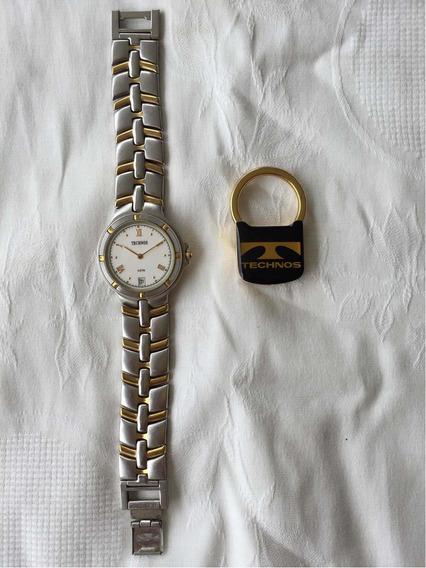 Relógio Technos Inox 4u74.ab, Resistente Água 3atm +chaveiro
