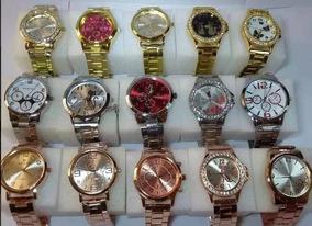 Relógio Feminino Importado Kit Compre 5 Leve 6 Dourado/rose