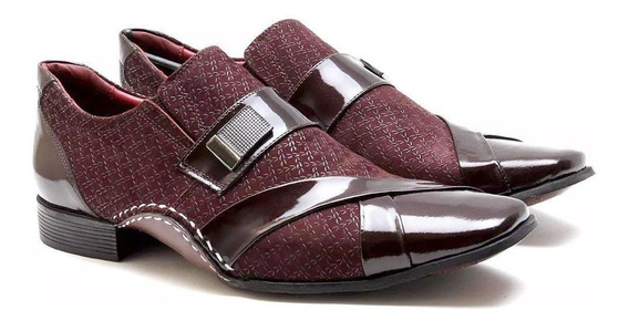 Sapato Social Versales Masculino Couro Detalhe Verniz Macio