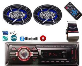 Som Automotivo Bluetooth Aux Faz Ligacao + Par 6x9 200 Rms
