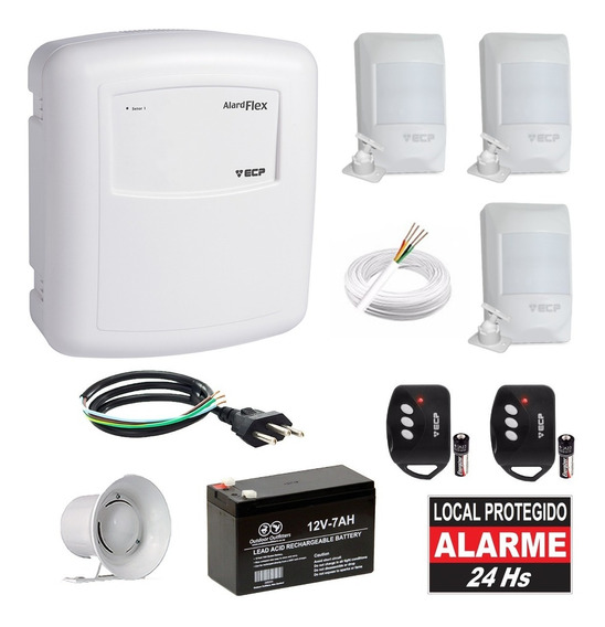 Kit Alarme Residencial Com Fio Ecp 3 Sensores Presença Infra