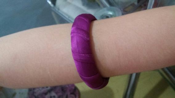 Pulseira Bracelete Infantil De Tecido Roxo Chic