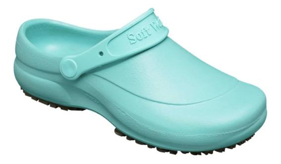 Zapato Zueco De Goma Anti Deslizante Verde - Mundo Trabajo