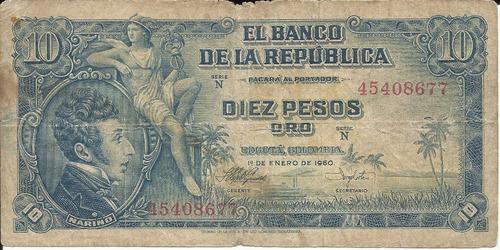 Imagen 1 de 2 de Colombia 10 Pesos, 1 Enero 1960