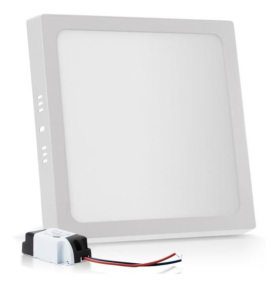 Painel Plafon Sobrepor 25w Led Quadrado Branco Frio Reator