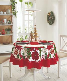 Mantel Redondo Circular Navideño 180 Cm Jean Cartier