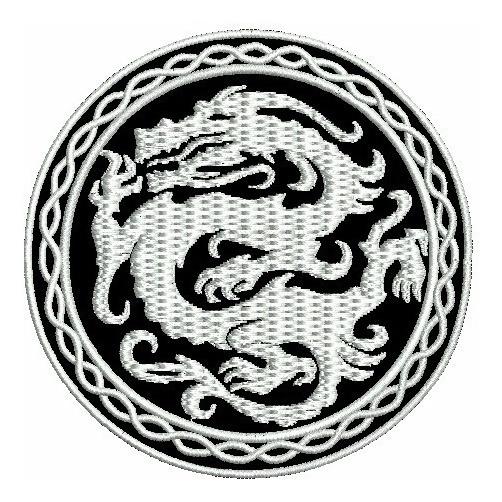 Patch Bordado Dragão Branco Termo Colante 8cm.