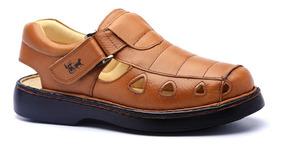 Sandália Masculina 302 Em Couro Floater Whisky Doctor Shoes
