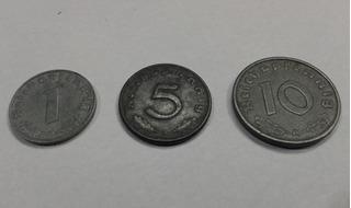 Set Moedas Nazista 1 5 E 10 Reich Zinco