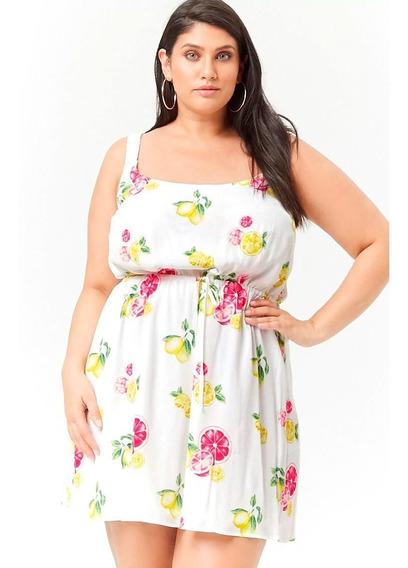 Vestido Forever 21 Fondo Blanco Citrus Plus Size