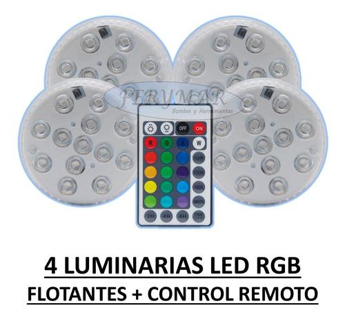 Kit 4 Luminaria Luz Pilas Led Flotante Pileta Jacuzzi Rgb