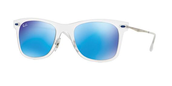 Lente Sol Ray Ban Wayfarer Transparente Azul