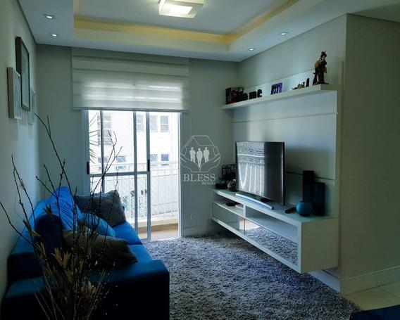 Apartamento No Spazio Bonfiglioli, Lindamente Decorado Em Tons Clean, Semi-mobiliado (estudo Proposta De Porteira Fechada Também). Armários Embutid - Ap02354 - 33915302