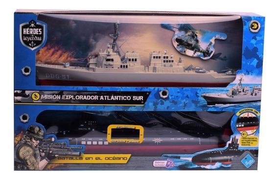 Barco Y Submarino Luz Y Sonido Batalla En El Océano Heroes