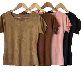 Kit 5 Blusinhas T-shirts Sued Lançamento Outrono-inverno