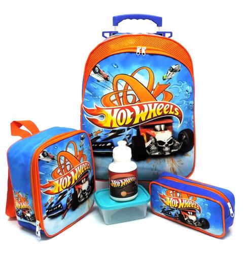 Imagem 1 de 10 de Kit Mochila Infantil Escolar Hot Wheels Rodinhas Tam G F5