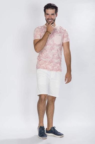 Playera Moda Hombre Estampado Playa Rosa Claro A80161
