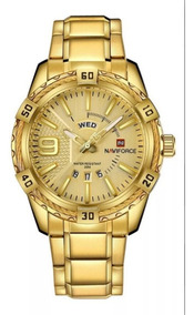 Relógio Masculino Naviforce Luxo Dourado