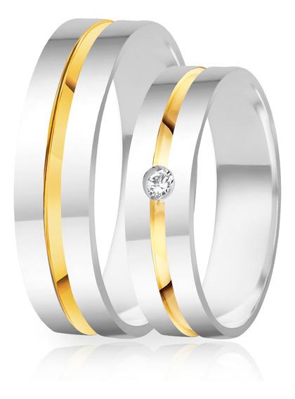 Alianças De Namoro Prata 950 Polida Com Ouro 5.0 Mm