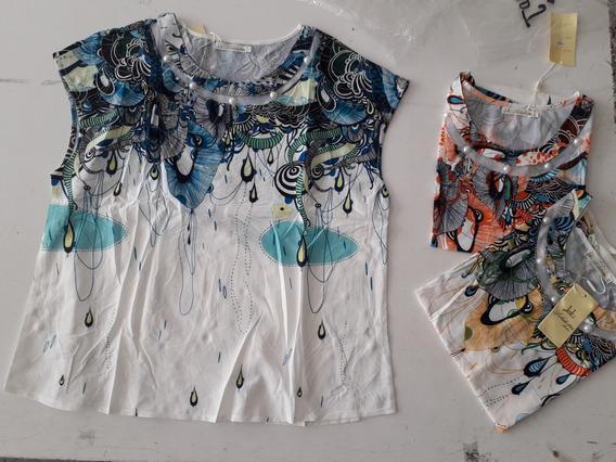 Bata Camiseta Plus Size Feminina Estamp Floral Renda Senhora