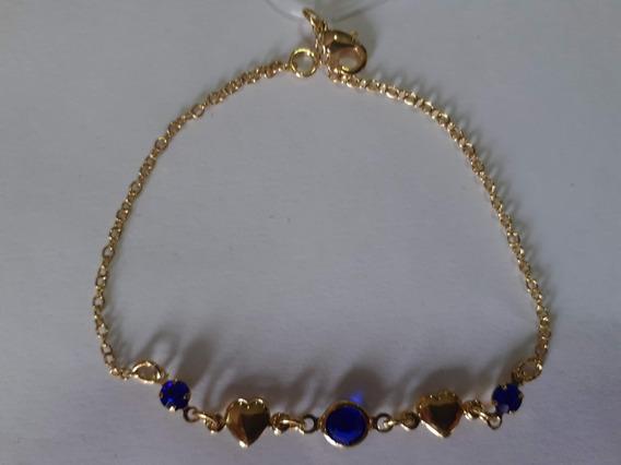 Pulseira Em Pedras Zirconia Azul E Corações Banh. Ouro 18k