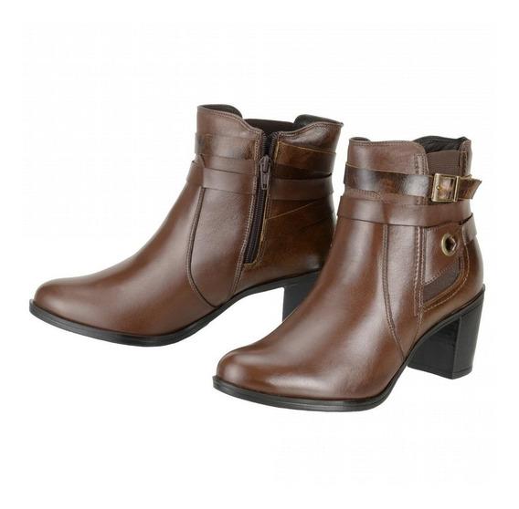 Bota Cano Curto Feminina Couro Ankle Boot 252 Marrom