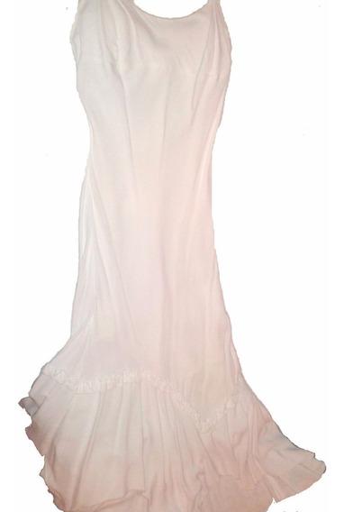 Vestido Blanco Largo Con Picos Tela Crepe Sm Clara Ibarguren