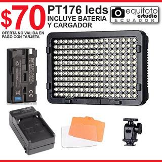 Luz Led Pt 176 Led Para Video Cámara Con Bateria Y Cargador