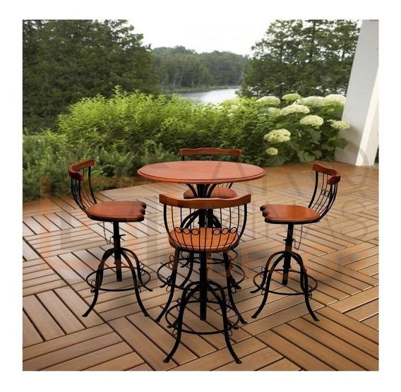 Mesa Cozinha 4 Cadeiras- Bistrô - Ferro E Madeira - Promoção