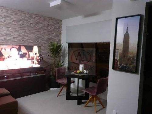 Imagem 1 de 6 de Flat Com 1 Dormitório À Venda, 35 M² Por R$ 255.000,00 - Itararé - São Vicente/sp - Fl0022