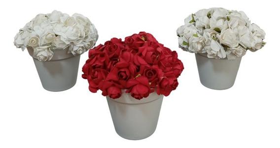 3 Vasinhos Mini Rosinhas - Trio Vasos Rosas Pequenos Flores