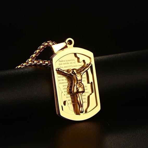 Colar Masculino Aço Banho Ouro 18k Dourado Jesus Cruz C508