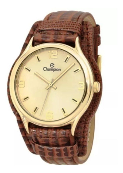 Kit Relógio Champion Feminino Dourado Pulseira Couro Marrom