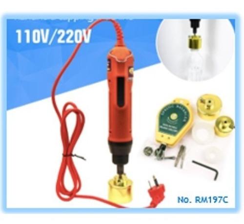 M/áquina taponadora el/éctrica m/áquina taponadora de botellas de 220 V M/áquina taponadora selladora de botellas de mano M/áquina taponadora de sellado 10-50mm Enchufe de la UE con equilibrador