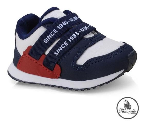 Tênis Masculino Bebê Klin Mini Walk Casual Com Elástico Azul
