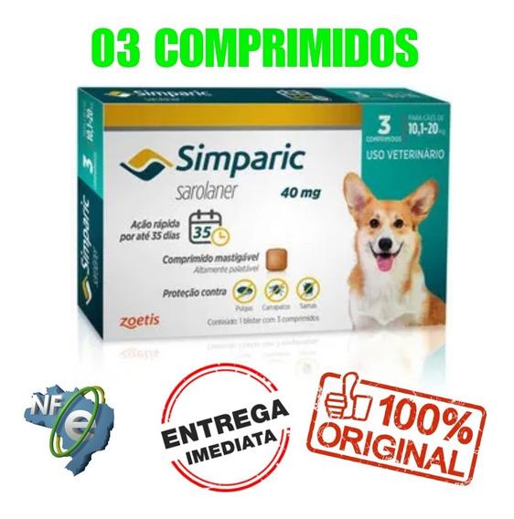 Simparic 10 A 20 Kg 3 Comprimidos Anti-pulgas E Carrapatos