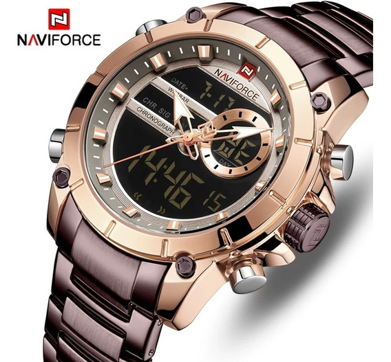 Relógio Naviforce 9163 Original Luxo Multifuncional Aço Inox