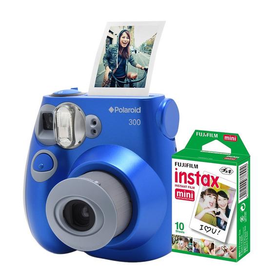 Câmera Polaroid Instantânea Pic 300 Azul C/filme 10 Poses