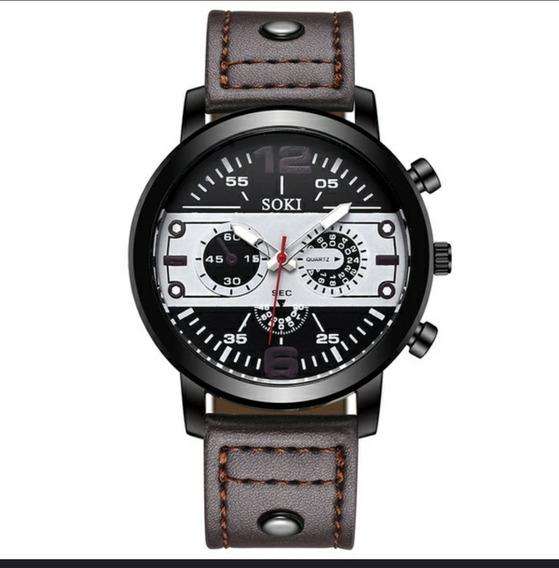 Relógio Soki Masculino Pulseira De Couro