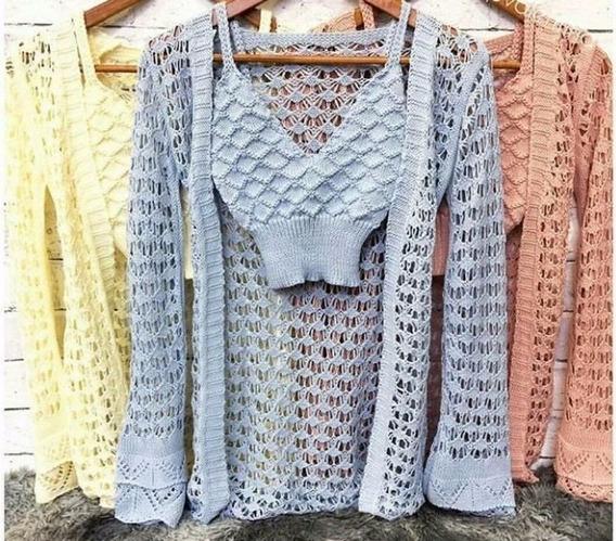 Conjunto Top Cropped Feminino + Kimono Renda Longo Blusa Feminina Cardigan Tricot Praia Moda Blogueiras Roupas Femininas